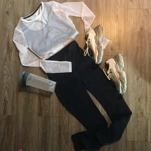 Forever 21 SM white workout top sheer thumb holes
